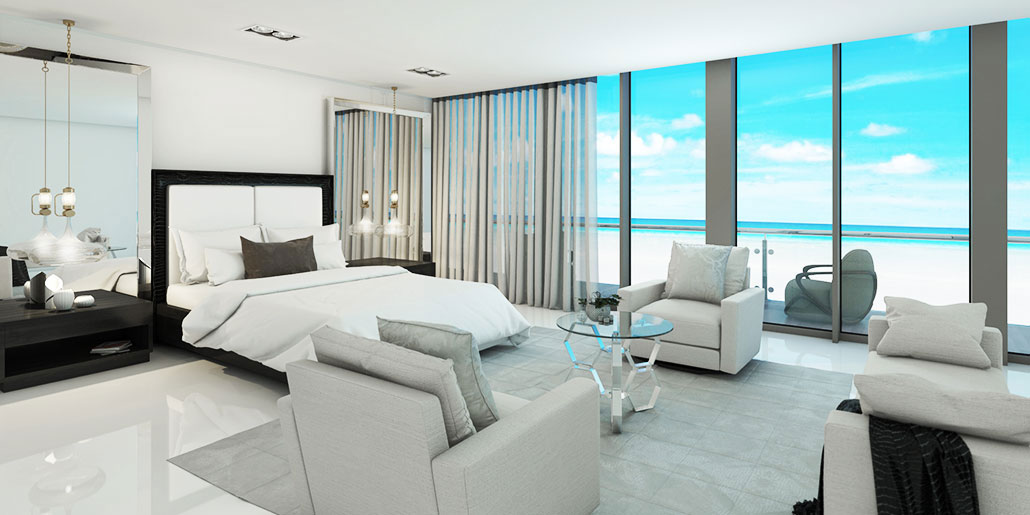 Modern Ocean front Bedroom. Modern apartment furniture decor