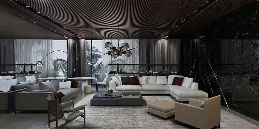 Dramatic spaces with deep textures and contemporary shapes