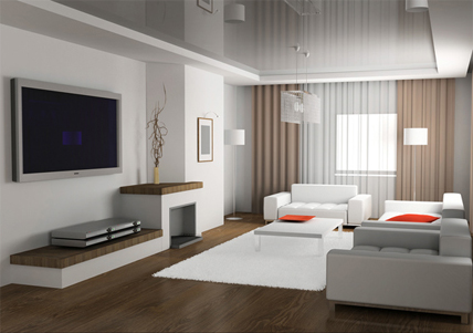 modern furniture and good interior design; creates atmosphere and